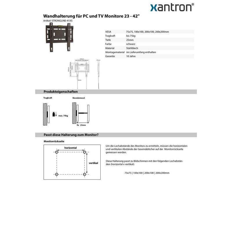 wandhalterung f r pc und tv monitore 23 42 xantron stro. Black Bedroom Furniture Sets. Home Design Ideas